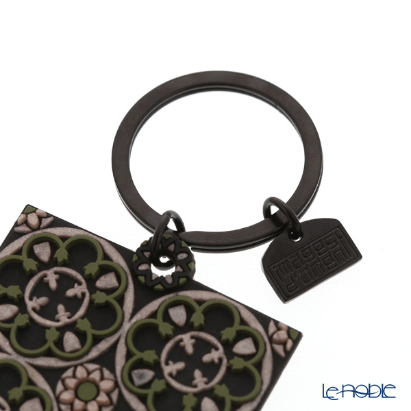 Images D'orient 'Stone Rosace' Black & Green & Pink KEY300114 Square Keychain 5cm