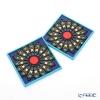 Images D'orient 'Sursock Vitrail' Blue COA994132 Square Coaster 9x9cm (set of 2)