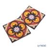 Images D'orient 'Sejjadeh - Sol' Orange & Pink COA990342  Square Coaster 9x9cm (set of 2)