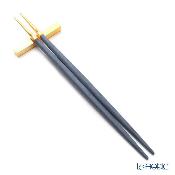 クチポール ゴア GOA ブルー/ゴールド 箸+箸置セット 23cm マット仕上げ