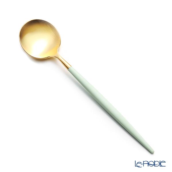 Cutipol 'GOA' Celadon Green & Matte finish Gold Dessert Spoon 18cm