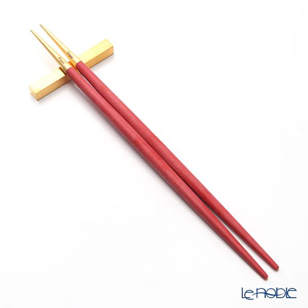 クチポール ゴア GOA レッド/ゴールド マット仕上げ 箸+箸置セット 23cm