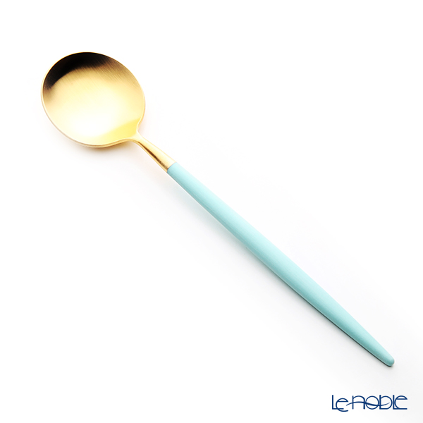 Cutipol 'GOA' Turquoise Blue & Matte finish Gold Dessert Spoon 18cm