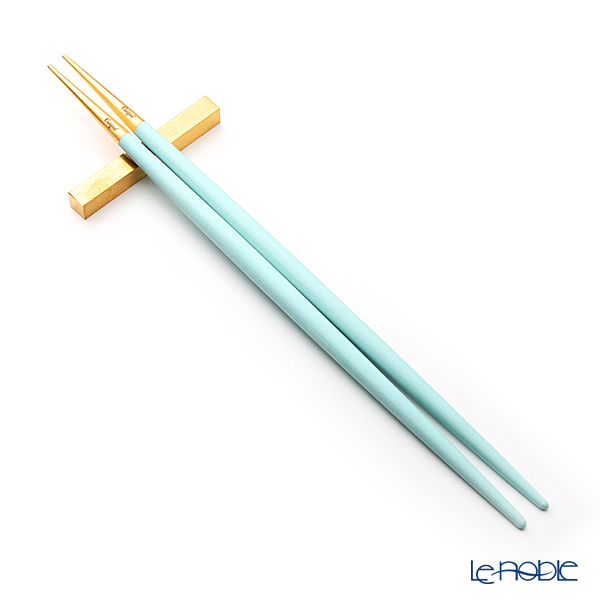 Cutipol 'GOA' Turquoise Blue & Matte finish Gold Chopsticks 22.5cm & Chopstick Rest