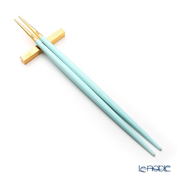 クチポール ゴア GOA ターコイズ/ゴールド 箸+箸置セット 23cm マット仕上げ