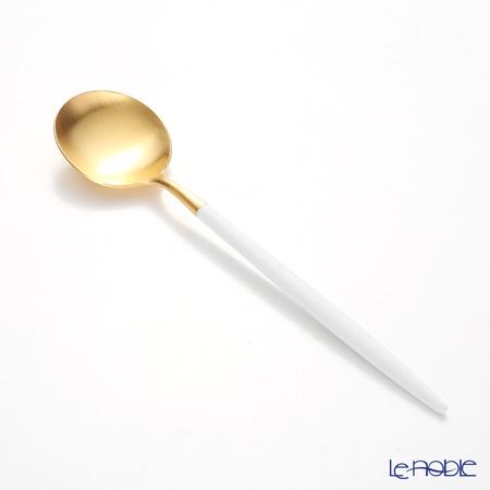 クチポール ゴア GOA ホワイト/ゴールド デザートスプーン 18cm マット仕上げ