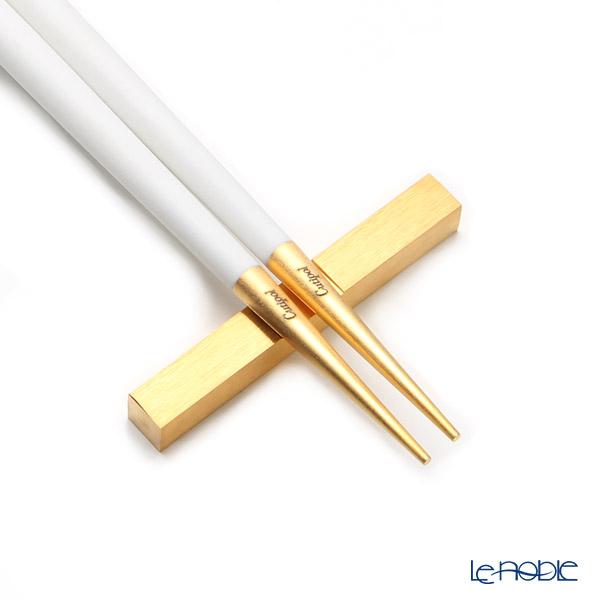 Cutipol 'GOA' White & Matte finish Gold Chopsticks 22.5cm & Chopstick Rest