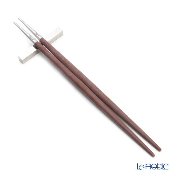 クチポール ゴア GOA ブラウン/シルバー 箸+箸置セット 23cm マット仕上げ