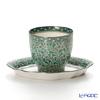 Pinsuwan Benjarong Jakkree Platinum Green Free Cup (without Handle) & Saucer