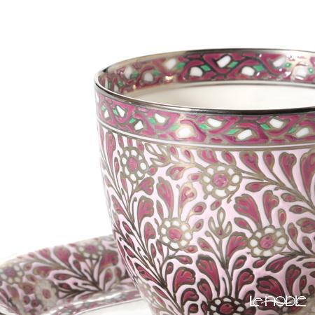 Pinsuwan Benjarong 'Jakkree Platinum' Pink Purple Free Cup & Oval Dish