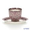 Benjarong ware Manufactory pine Swan Chakri Free Cup & saucer (no handle) Platinum pink