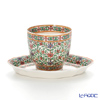 Pinsuwan Benjarong 'Flower & Leaf' Green/Red Free Cup (without Handle) & Saucer