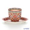 Pinsuwan Benjarong 'Benjamas Flower' White Red Free Cup & Oval Dish