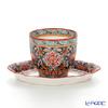 Pinsuwan Benjarong Benjamas Flower Black Free Cup (without Handle) & Saucer