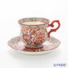 Pinsuwan Benjarong 'Benjamas Flower' White Red Tea Cup & Saucer