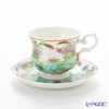 Benjarong ware Manufactory pine Swan sea view Tea Cup & Saucer