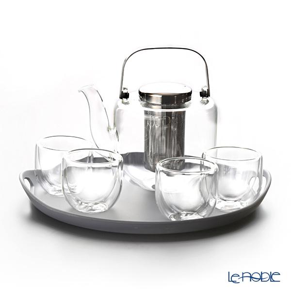 VIVA Scandinavia 'BJORN' V32801 Double Wall Tea Cup, Tea Pot, Tray (set of 6 for 4 persons)