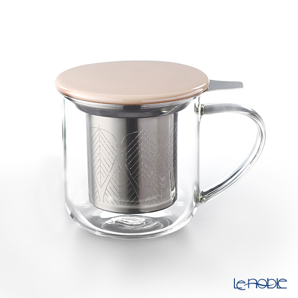 VIVA Scandinavia 'MINIMA' Powder Brown Eva Infuser Mug (with Tea Strainer & Lid) 450ml