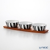 Catherine Holm 'Stripe' Black Bowl 10cm (set of 3 with Wooden Tray)