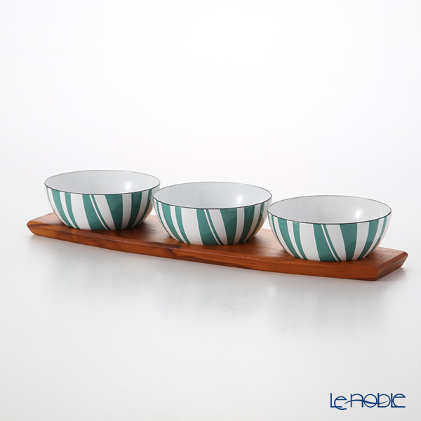Catherine Holm 'Stripe' Moss Green Bowl 10cm (set of 3 with Wooden Tray)