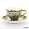 Benjarong ware Manufactory Blanc Chakri blue Tea Cup & Saucer