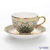 Buran Benjarong 'Cho Phueksa (Botanical Bouquet)' Turquoise Blue Tea Cup & Saucer