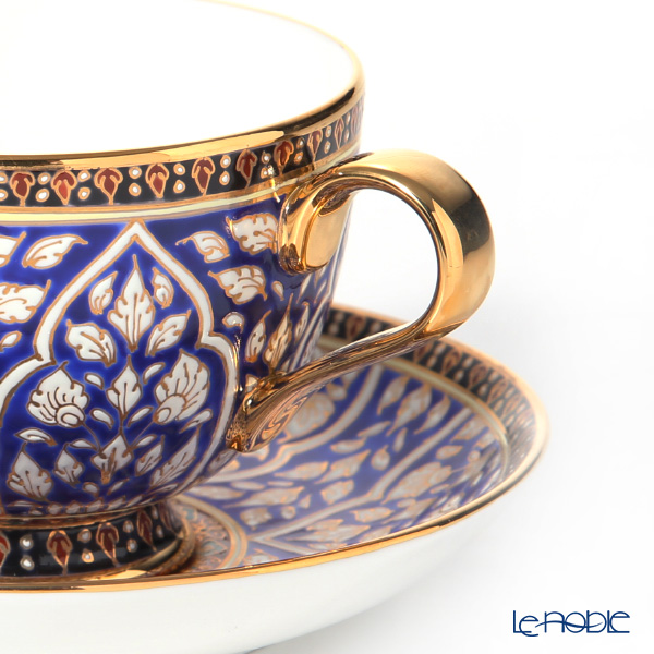 Buran Benjarong 'Lotus Channel' Blue Tea Cup & Saucer