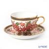Buran Benjarong 'Plumeria' Red Tea Cup & Saucer