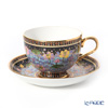 Buran Benjarong 'Water Lotus' Black Tea Cup & Saucer