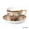 Buran Benjarong 'Lotus' White Tea Cup & Saucer