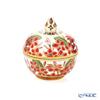 Buran Benjarong 'Plumeria' Red Round Box 6cm