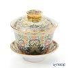 Buran Benjarong 'Cho Phueksa (Botanical Bouquet)' Turquoise Blue Oriental Cup & Saucer (S)