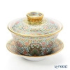 Buran Benjarong 'Cho Phueksa (Botanical Bouquet)' Turquoise Blue Oriental Cup & Saucer (L)