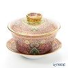 Buran Benjarong 'Cho Phueksa (Botanical Bouquet)' Pink Oriental Cup & Saucer (L)