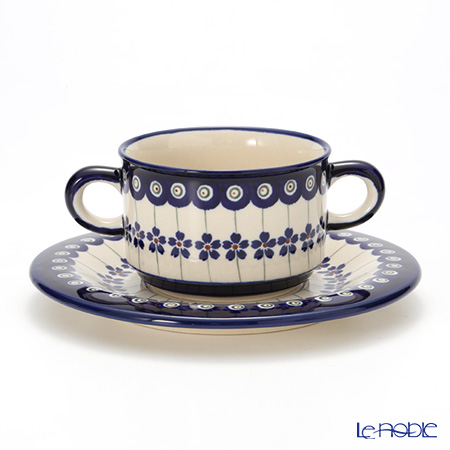 ポーリッシュポタリー(ポーランド陶器) ボレスワヴィエツ スープカップ&ソーサー 260ml 900/908/166A