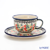 Polish Pottery Boleslawiec 'DU158-GU775/836' Tea Cup & Saucer 220ml