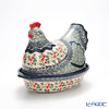 Polish Pottery Boleslawiec 'DU158-GU1773/1788' Oval Dish with Hen/Rooster Lid 32.5x22xH22.5cm