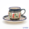 Polish Pottery Boleslawiec 'DU158-GU913/710' Coffee Mug Cup & Saucer 160ml