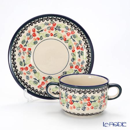 Polish Pottery Boleslawiec 'DU158-GU900/903' Soup Cup & Saucer 260ml