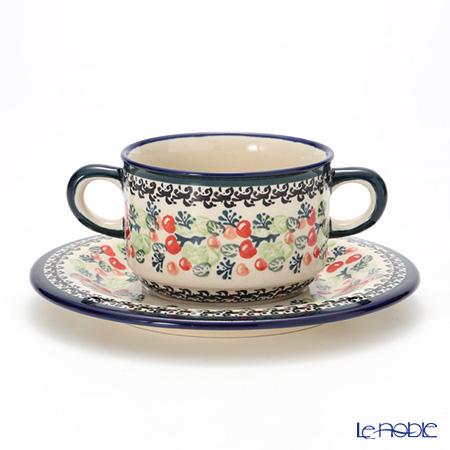 ポーリッシュポタリー(ポーランド陶器) ボレスワヴィエツ スープカップ&ソーサー 260ml 900/908/DU158