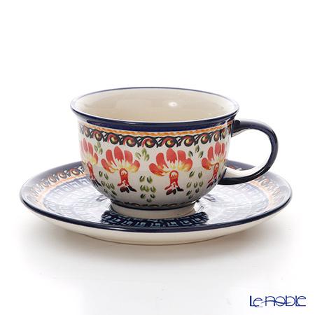 ポーリッシュポタリー(ポーランド陶器) ボレスワヴィエツ ティーカップ&ソーサー 220ml/16cm 775/836/DU184