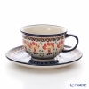Polish Pottery Boleslawiec 'DU184-GU775/836' Tea Cup & Saucer 220ml