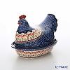 Polish Pottery Boleslawiec 'DU184-GU1773-1788' Oval Dish with Hen/Rooster Lid 33x21.5xH23.5cm