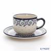 Polish Pottery Boleslawiec Tea Cup & Saucer 210ml 886/883/1163A