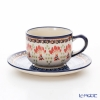 Polish Pottery Boleslawiec 'DU184-GU886/883' Tea Cup & Saucer 210ml