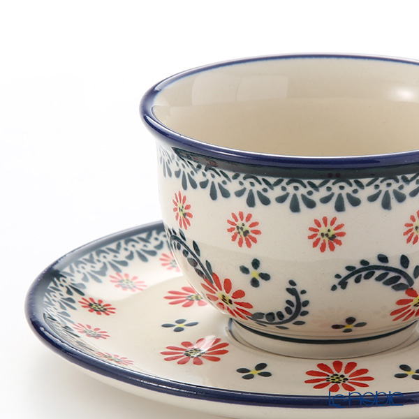 Polish Pottery Boleslawiec Tea Cup & Saucer 220ml 775/836/1072A