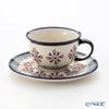 ポーリッシュポタリー(ポーランド陶器) ボレスワヴィエツティーカップ&ソーサー 220ml/16cm 775/836/1220A