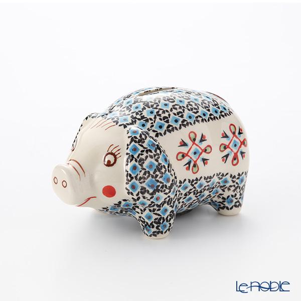 ポーリッシュポタリー(ポーランド陶器) ボレスワヴィエツ ピギーバンク(豚の貯金箱) 15.5cm/H9.3cm 1815/1220A