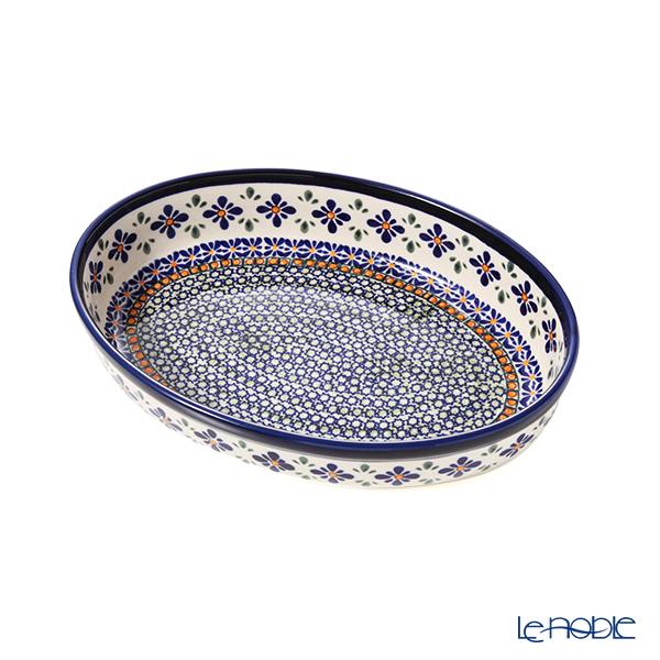 ポーリッシュポタリー(ポーランド陶器) ボレスワヴィエツ ディッシュ/楕円皿/オーバルボウル 19×27.5cm 349A/DU-60