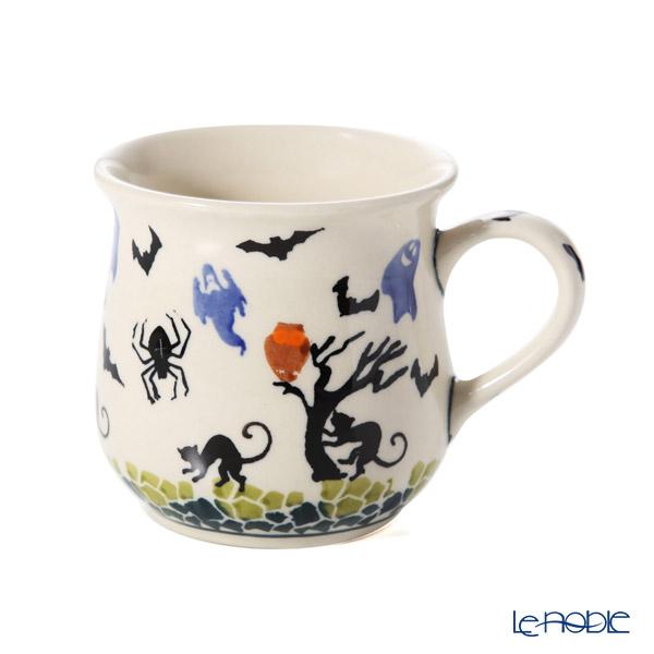 ポーリッシュポタリー(ポーランド陶器) ボレスワヴィエツマグカップ 250ml/8.6cm お化け&猫 ハロウィン 1599/DU-OK125